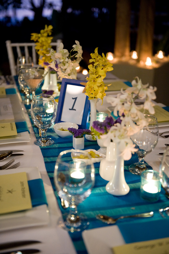blue white and yellow wedding decor – Weddings Costa Rica
