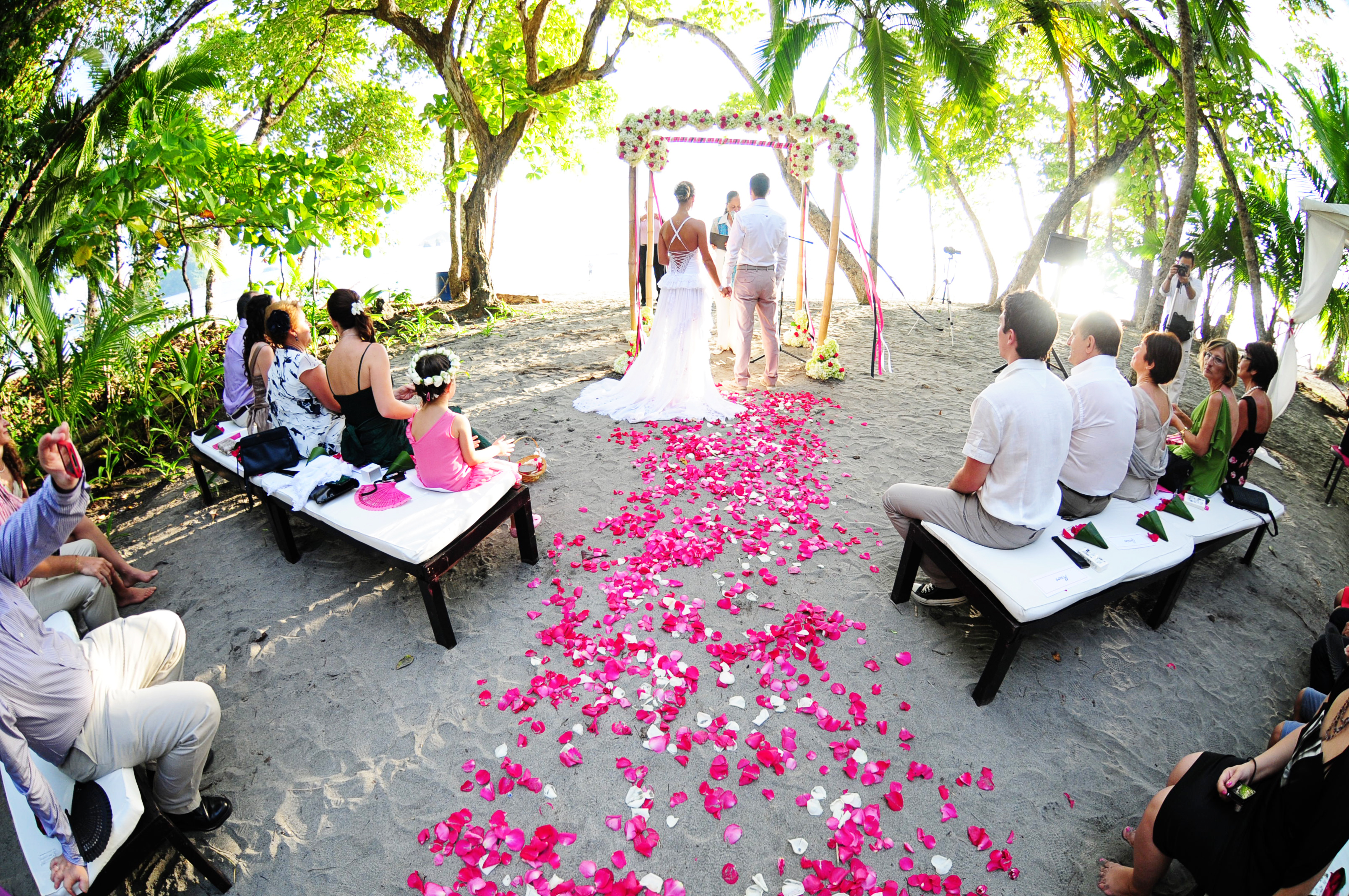 Mansion Backyard Wedding : The backyard of Discovery House is on the beach under a grove of trees