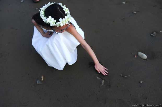 Flower girl on beach