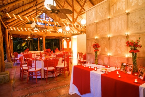 red wedding reception