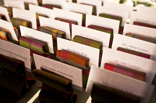 plaid seating cards