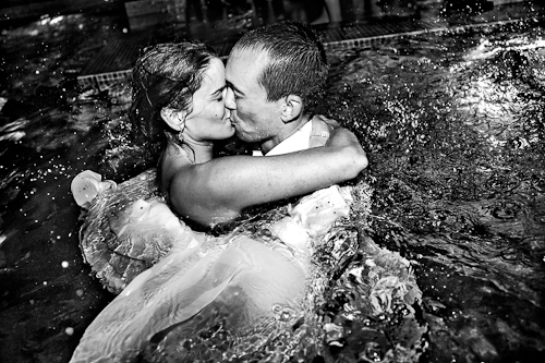 Bride and Groom in the Pool