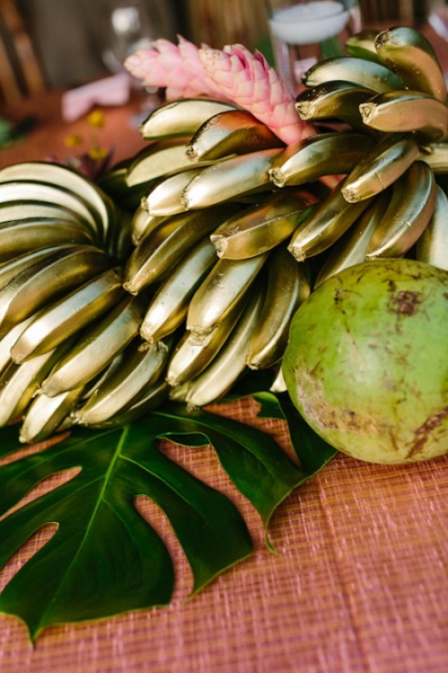 Gold bananas, coconuts, palm leaves