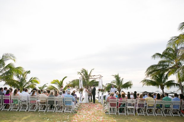 beach wedding, wedding ceremony site, altar, wedding arches, ocean view wedding, Hacienda Pinilla Beach Resort, las palapas, weddings costa rica