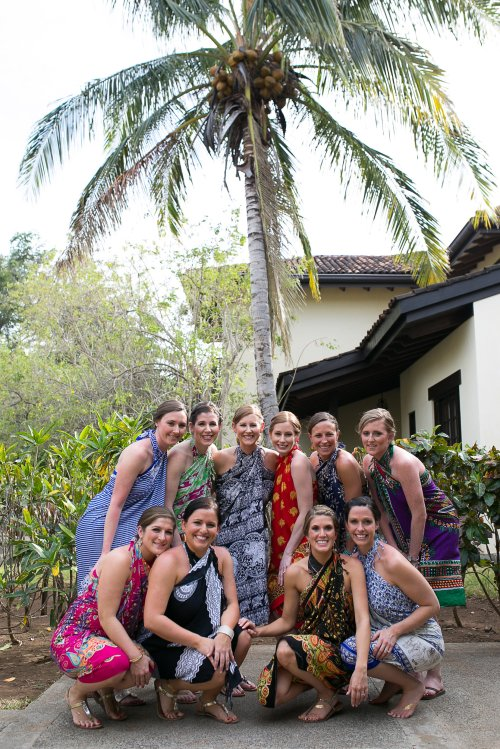 bride and friends, tropical wedding, bride and bridesmaids, Hacienda Pinilla Beach Resort, las palapas, weddings costa rica