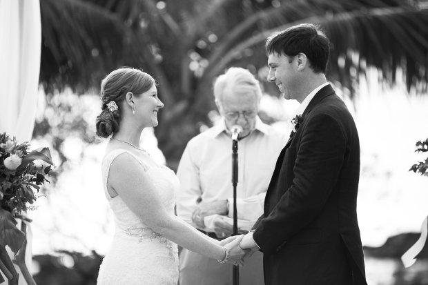 bride and groom, wedding vows, wedding ceremony, beach wedding, tropical wedding, Hacienda Pinilla Beach Resort, las palapas, weddings costa rica