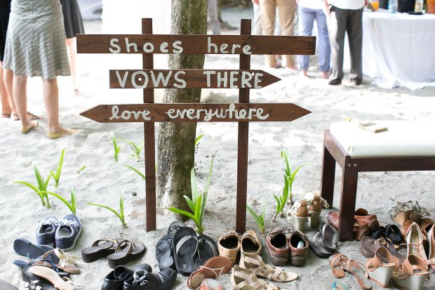 beach wedding, shoe valet, tropical wedding, discovery beach house manuel antonio, weddings costa rica