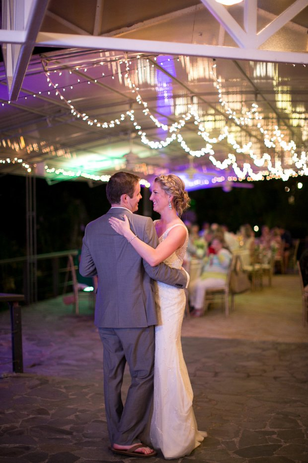 bride and groom dancing, wedding reception, discovery beach house manuel antonio, weddings costa rica