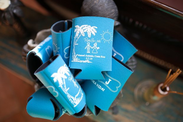 wedding can cooler, customized can cooler, personalized, can cooler, can sleeve, discovery beach house manuel antonio, weddings costa rica