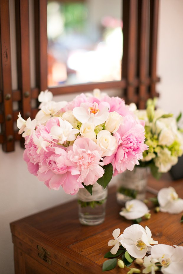 bridal bouquet, pink peony wedding bouquet, pink peony bouquet, discovery beach house manuel antonio, weddings costa rica
