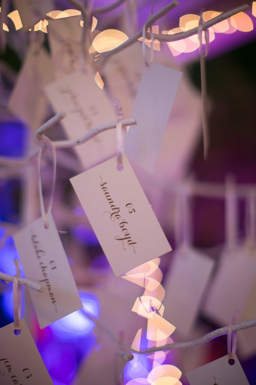 place card tree, purple reception, discovery beach house manuel antonio, weddings costa rica