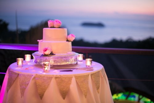 wedding cake, wedding cake sunset, rose wedding cake, wedding cake ocean, discovery beach house manuel antonio, weddings costa rica