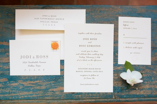 wedding invitations, destination wedding, costa rica wedding, tropical wedding, discovery beach house manuel antonio, weddings costa rica