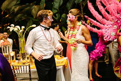 bride and groom with mask, lei, tropical wedding, los altos resort wedding, weddings costa rica
