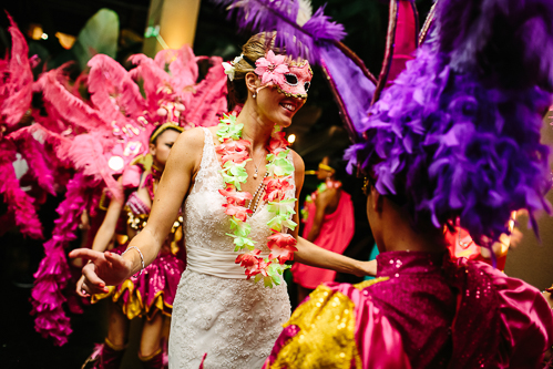 bride with mask, bride with lei, samba dancers, tropical wedding, los altos resort wedding, weddings costa rica