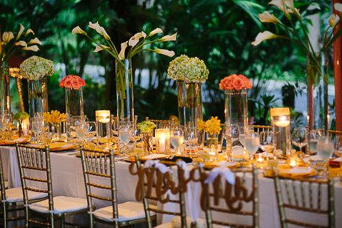 gorgeous table arrangement, reception at night, gold theme wedding, wedding chairs, tropical wedding, los altos resort wedding, weddings costa rica