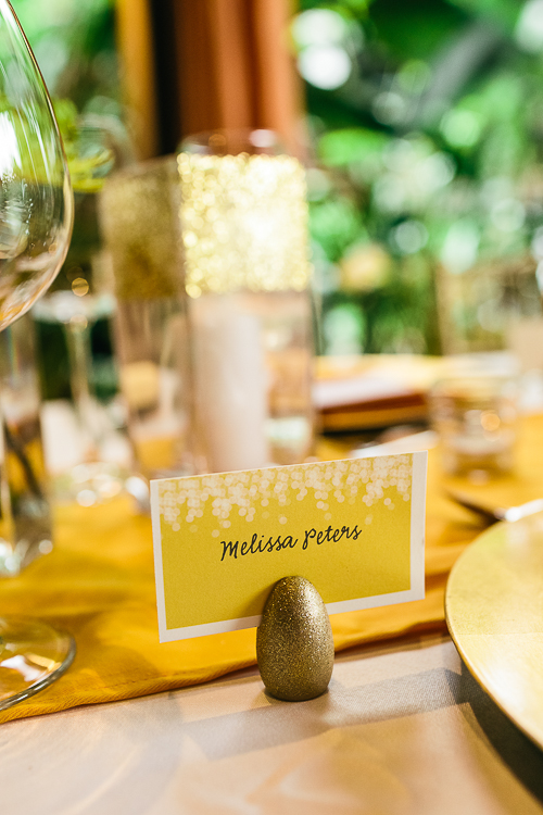 wedding place card, gold place card holder, gold theme wedding, los altos resort wedding, weddings costa rica