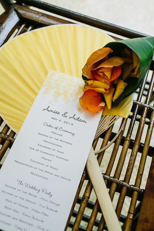 wedding program, yellow fan, tropical wedding