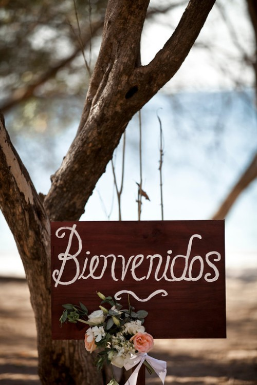 beach wedding, welcome sign, rose sign, bienvenidos sign, Reserva Conchal Beach Club, Weddings Costa Rica