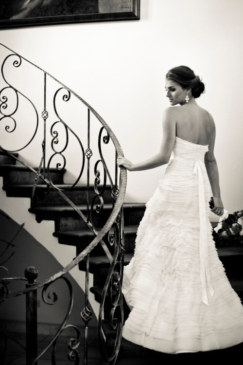 wedding dress, bride on staircase, bride, Reserva Conchal Beach Club, Weddings Costa Rica