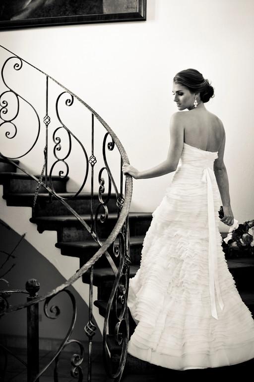wedding dress, bride on staircase, bride, Reserva Conchal Beach Club, Weddings Costa Rica