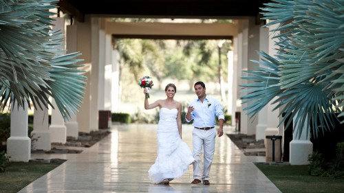 bride and groom, tropical wedding, palm tree wedding, Reserva Conchal Beach Club, Weddings Costa Rica