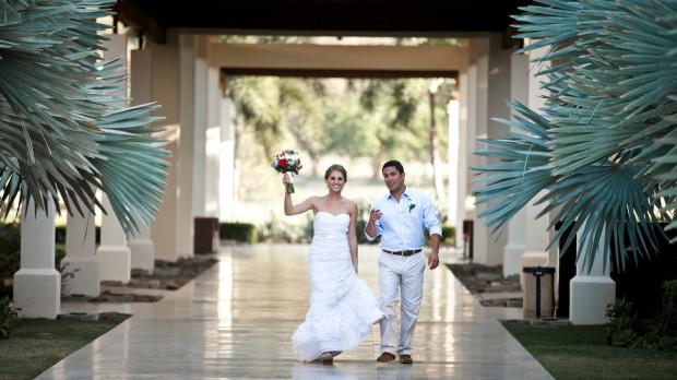 bride and groom, tropical wedding, palm tree wedding, Reserva Conchal Beach Club, Weddings Costa Rica