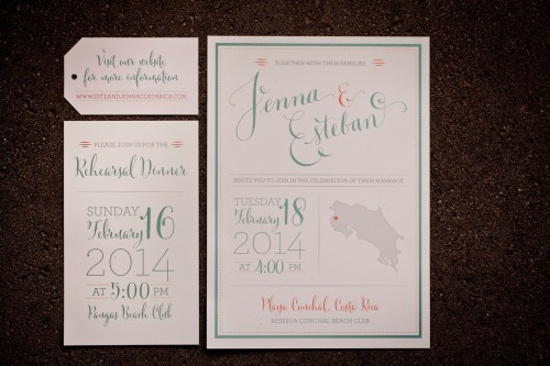 wedding invitation, costa rica wedding invitation, destination wedding, Reserva Conchal Beach Club, Weddings Costa Rica