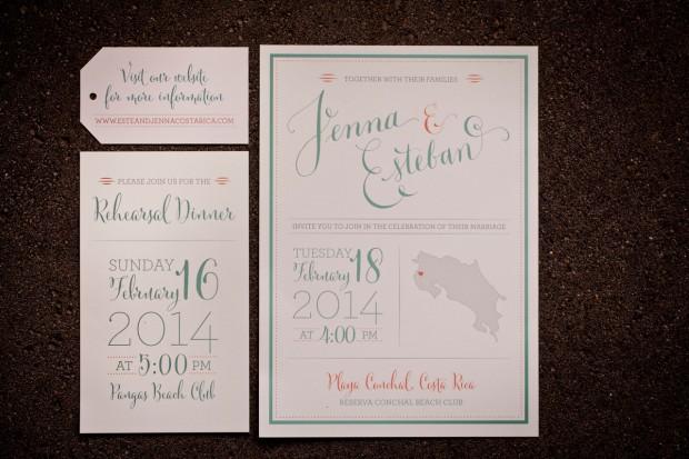 wedding invitation, costa rica wedding invitation, destination wedding, Reserva Conchal Beach Club, Weddings Costa Rica
