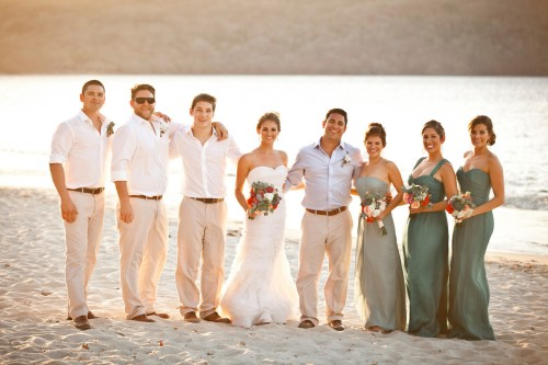 beach wedding, playa conchal, groomsmen beach, bridesmaids beach, wedding party, teal color bridesmaids dress, Reserva Conchal Beach Club, Weddings Costa Rica
