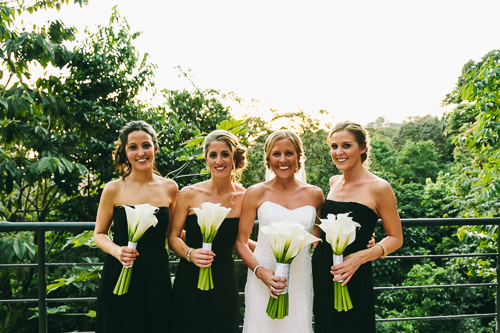 bride and bridesmaids, bridesmaids calla lily bouquets, punto de vista costa rica wedding, weddings costa rica