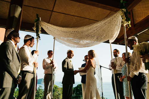 chuppah, wedding canopy, Jewish wedding, tropical wedding, wedding vows, punto de vista costa rica wedding, weddings costa rica