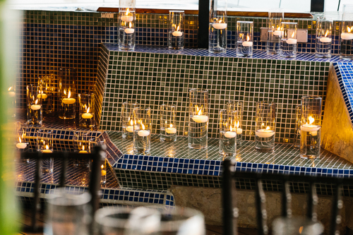 floating candles, romantic candles, romantic wedding, punto de vista costa rica wedding, weddings costa rica, blue mosaic tiles