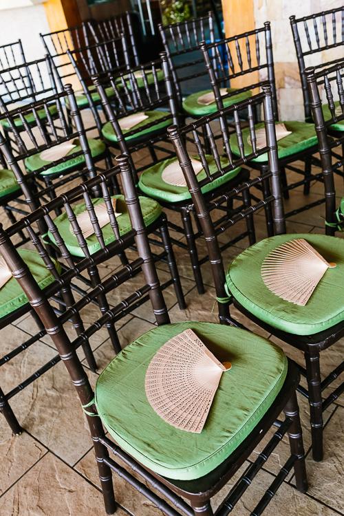 wedding chairs, green chairs, fans, punto de vista costa rica wedding, weddings costa rica