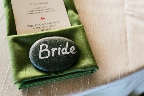 wedding menu, green napkin, green theme wedding, punto de vista costa rica wedding, weddings costa rica