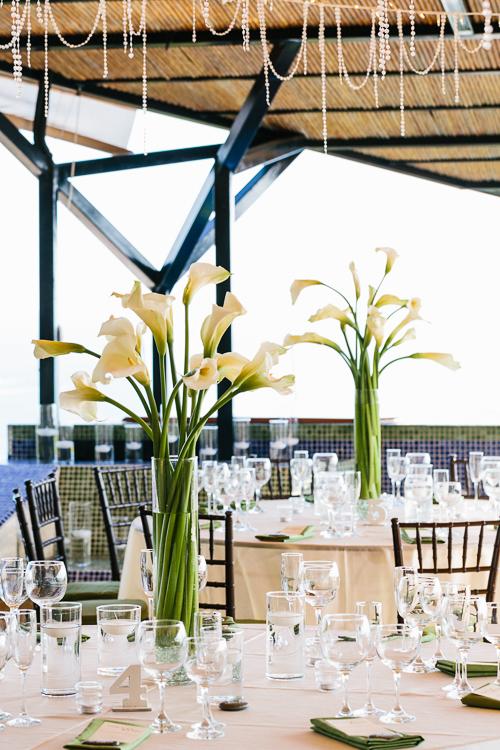 calla lilies, wedding reception, tropical wedding, punto de vista costa rica wedding, weddings costa rica