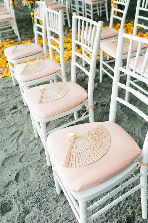 wedding chairs, beach wedding, wedding fans, punto de vista costa rica wedding, weddings costa rica