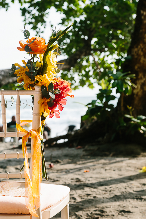 beach wedding, wedding aisle flowers, chair back flowers, punto de vista costa rica wedding, weddings costa rica