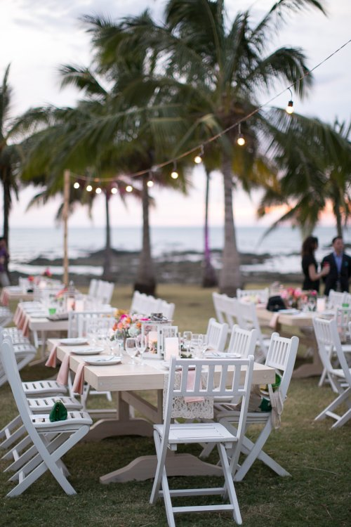 tropical wedding, beach wedding, wedding reception, tropical reception, table arrangement, Hacienda Pinilla Beach Resort, las palapas, weddings costa rica