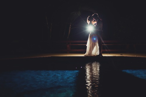 bride and groom dancing, beach wedding, pool side dance, costa rica wedding, tulemar, weddings costa rica