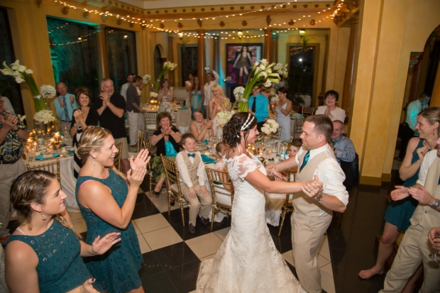 bride and groom dancing, wedding reception, zephyr palace wedding, wedding celebration, weddings costa rica, destination wedding