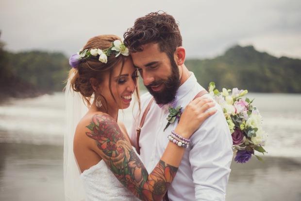 bride and groom on beach, vintage beach wedding, beach wedding, costa rica weddings, tulemar, weddings costa rica
