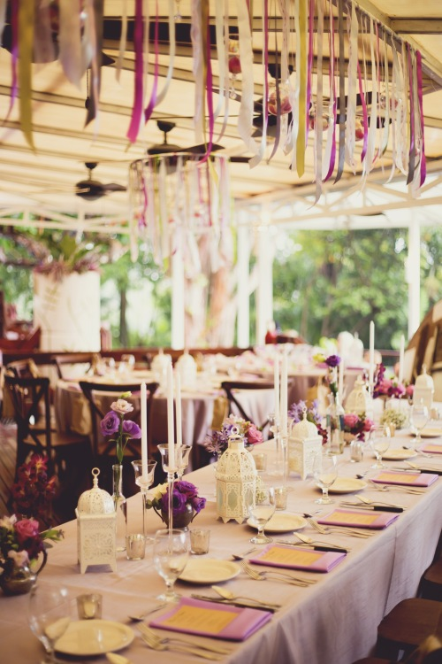 tropical wedding, purple theme wedding, purple table setting, wedding reception, tulemar, weddings costa rica