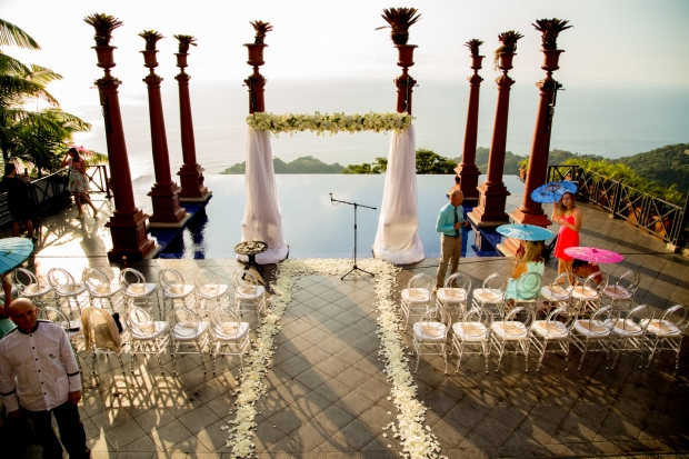 Villa Caletas, Zephyr Palace, Weddings Costa Rica, Wedding arch, altar, ocean view wedding, ceremony site, destination wedding