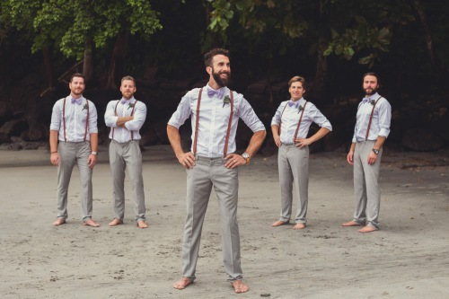 vintage groom and groomsmen, groomsmen on beach, beach wedding, tropical wedding, costa rica weddings, vintage wedding, tulemar, weddings costa rica