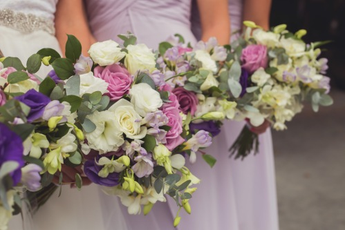wedding bouquets, white and purple bouquets, bridesmaids bouquets, tulemar, weddings costa rica