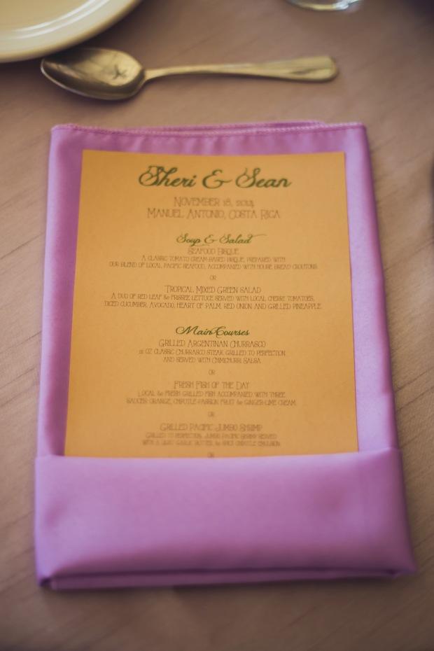 Wedding menu, purple and mustard menu, purple and yellow menu, tulemar, weddings costa rica