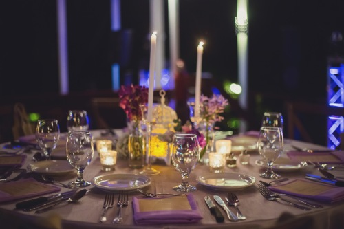 wedding reception, purple table decor, tulemar, weddings costa rica, candlelight dinner