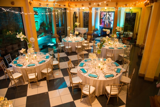zephyr palace, wedding reception, white and teal reception, luxury reception, weddings costa rica