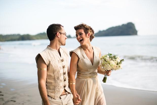 beach wedding, costa rica wedding, wedding couple, newlyweds